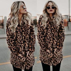 NWT! Leopard Print Faux Fur Warm Winter Coat